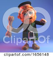 Fun Scottish Man Throwing A Bone For An Invisible Dog