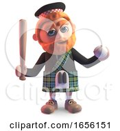 Cartoon Scottish Man In Kilt Has Taken Up Baseball