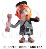 Cartoon Scottish Man In Kilt Throws A Bone