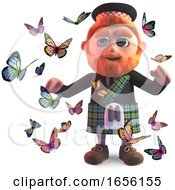 Butterflies Surround A Scottish Man In Kilt by Steve Young