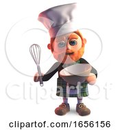 Scottish Man In Chefs Hat And Kilt Baking A Cake With Mixing Bowl
