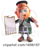 Efficient Scottish Man In Kilt With Clipboard And Pencil