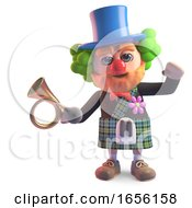 Funny Cartoon Scottish Man In Kilt Dressed As Clown With Red Nose