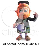 Thirsty Scottish Man In Kilt Drinking A Cup Of Tea