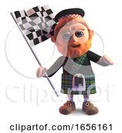 Cartoon Scottish Man In Kilt Waving The Checkered Flag