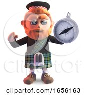 Fun Scottish Man In Kilt Using A Magnetic Compass