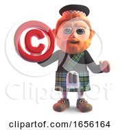Cartoon Scottish Man In Kilt Holding A Copyright Symbol
