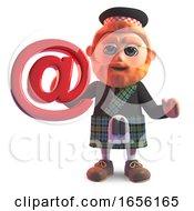 Modern Scottish Man In Kilt Holding An Email Address Symbol