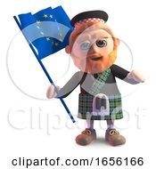 Bearded Scottish Man In Kilt Waving The European Flag