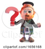 Scottish Man In Kilt On Holding A Question Mark Symbol by Steve Young