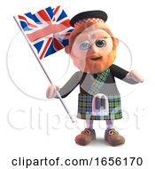 Scottish Man In Kilt Waving The British Union Jack Flag