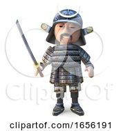 Noble Japanese Samurai Warrior Stands Ready With Katana Sword