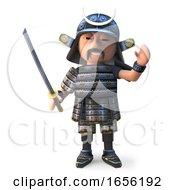 Mighty Japanese Samurai Swords Man With Katana Waves Hello