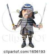 Great Japanese Samurai Warrior Wields Two Mighty Katana Swords