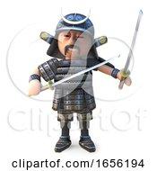 Katana Sword Wielding Japanese Samurai Warrior Stands Defensively