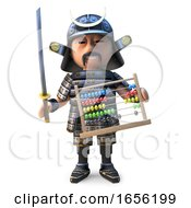 Educationally Minded Japanese Samurai Warrior Holds An Abacus