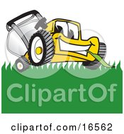 Clipart Picture Of A Yellow Lawn Mower Mascot Cartoon Character Smiling And Chewing On Grass