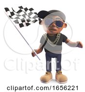 Black Hiphop Rapper Waving The Checkered Flag