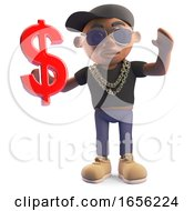 Rich Black Hiphop Rapper Holding US Dollar Currency Symbol