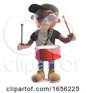 Rhythmic Black Hiphop Rapper Playing The Drums