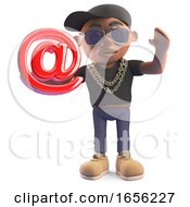Cool Cartoon Black Hiphop Rapper Holding Email Address Symbol