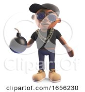 Cartoon Black Hiphop Rapper Holding A Bomb