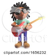 Poster, Art Print Of Musical Rasta Man Playing Red Electric Guitar