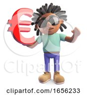 Young Black Rasta Man Holding A Euro Currency Symbol
