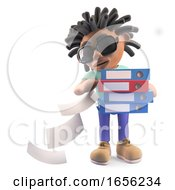 Busy Black Rasta Man With Dreadlocks Drops Files From Folders
