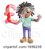 Young Black Rasta Man With Dreadlocks Holding UK Currency Symbol