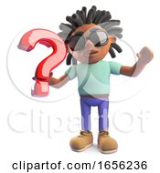 Black Man With Dreadlocks Holding A Question Mark Symbol