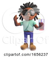 Relaxed Black Man Drinking From A Glass