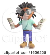 Rich Black Man With Dreadlocks Holding Wads Of Dollar Bills