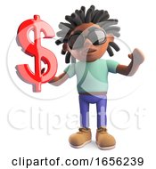Black Man With Dreadlocks Holding US Dollar Currency Symbol