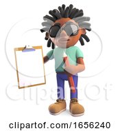 Young Black Man With Dreadlocks Holding A Clipboard And Pencil
