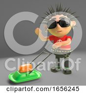 Poster, Art Print Of Green Punk Rocker Enjoys Mowing The Lawn