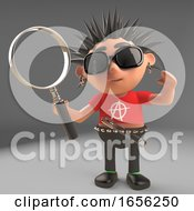 Inquisitive Punk Rocker Looks Through A Magnifying Glass
