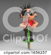 Funny Cartoon Punk Rocker Bounces Round On His Pogo Stick