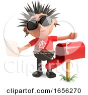 Funny Punk Rocker Character Has Letters In His Mailbox by Steve Young