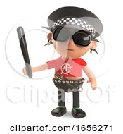 Strange Punk Rocker Dressed As A Policeman With Truncheon by Steve Young