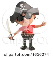 Nautical Punk Rocker Dressed As A Pirate With Cutlass
