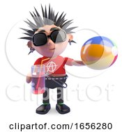 Funny Punk Rocker Is On Holiday With His Beach Ball And Drink by Steve Young