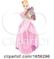 Blond Cinderella Holding Flowers