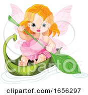 Cute Baby Fairy In A Leaf Boat