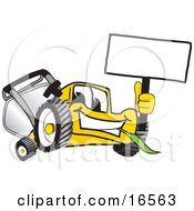 Yellow Lawn Mower Mascot Cartoon Character Waving A Blank Sign