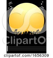 Poster, Art Print Of Music Festival Party Copy Space Border And Crowd Rith Notes