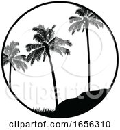 Black And White Summer Tropical Border With Palm Trees Silhouette
