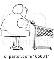 Cartoon Black And White Woman With A Shopping Cart