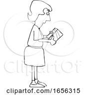Cartoon Black And White Woman Reading Ingredients On A Boxed Product