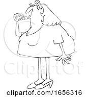 Cartoon Black And White Chubby Woman Applying Lipstick